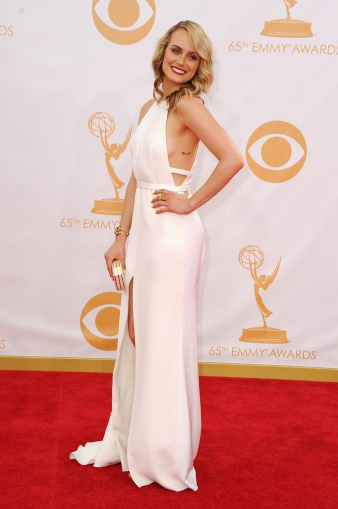 Taylor Schilling wore a white gown at the 2013 Emmy Awards.