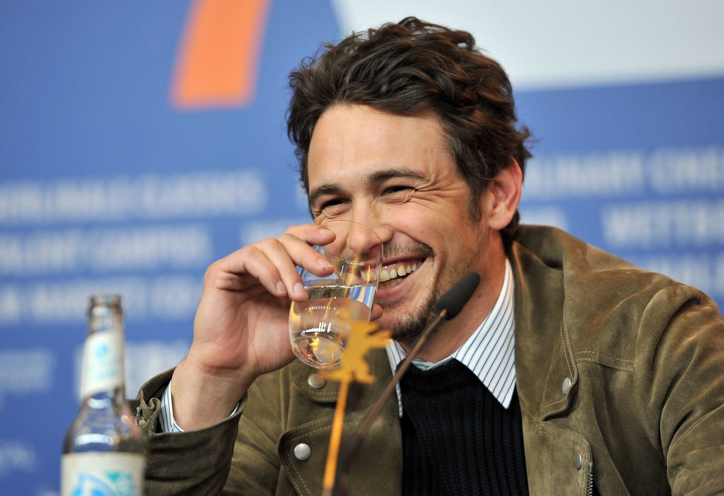 James Franco had a laugh during the press conference for Lovelace in Berlin on Saturday.