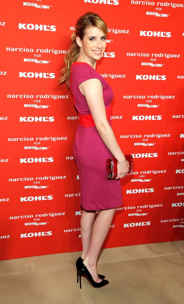 Emma Roberts smiled on the red carpet of Narciso Rodriguez's Kohl's collection launch party in NYC.