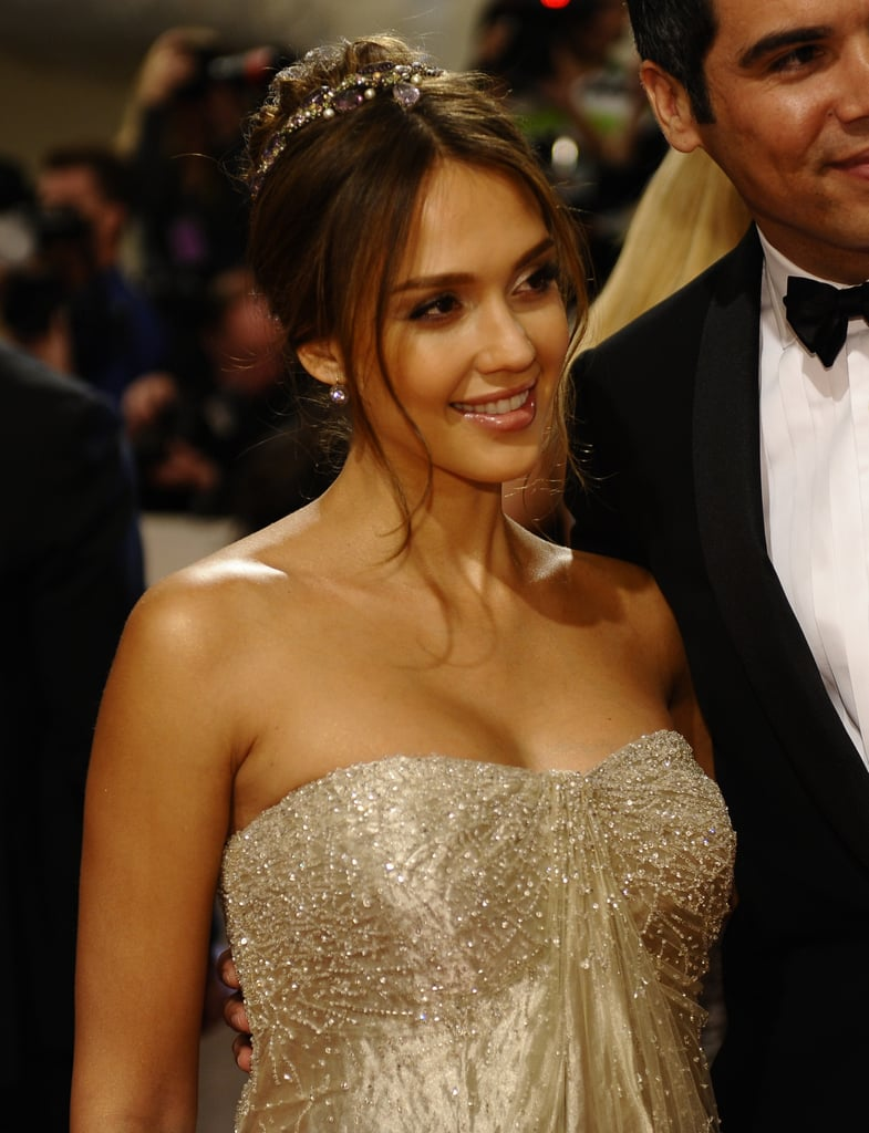 Pregnant Jessica Alba Glows in Gold Ralph Lauren at the Met Gala