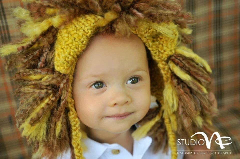 Hand Knit Lion Hat