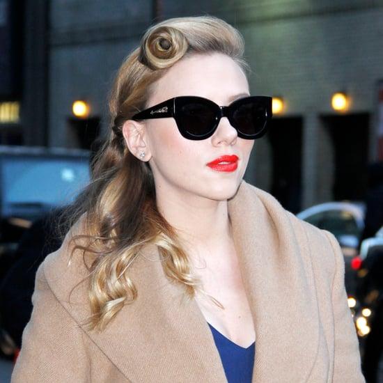 Scarlett Johansson Vintage Hairstyle and Red Lipstick