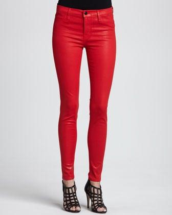 J Brand Jeans 815 Adra Mid-Rise Super Skinny Coated Jeans
