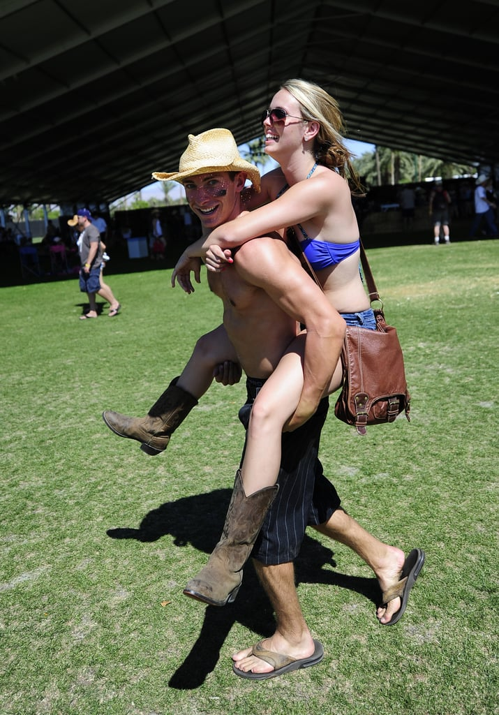 A man gave his girlfriend a piggyback ride at the Stagecoach Country Music Festival.