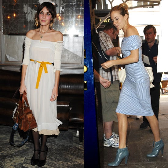 Alexa and Sienna both revealed a little collarbone in their off-the-shoulder dresses.