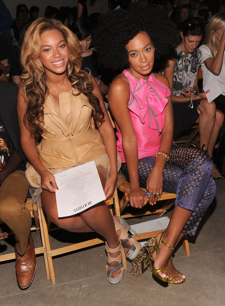 In September 2011, Beyoncé Knowles and Solange Knowles checked out Rodarte in NYC.