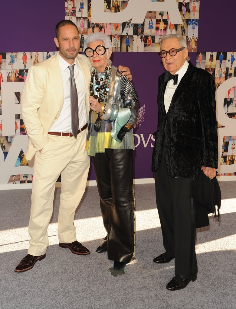 Iris Apfel in Balenciaga and Alexis Bittar jewelry, with the designer