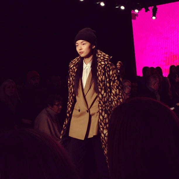 Printed coats over tailored blazers at DKNY.
