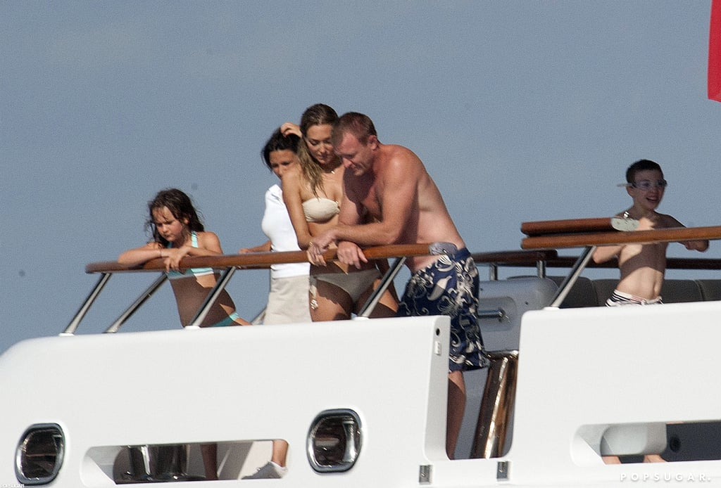 Guy Ritchie was spotted on a yacht in Palma, Spain, with girlfriend Jacqui Ainsley and son Rocco in July 2010.