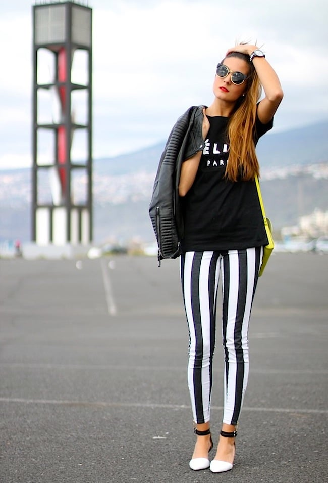 Mix up your Spring denim with stripes — and play on the season's big black and white trend. Source: Lookbook.nu