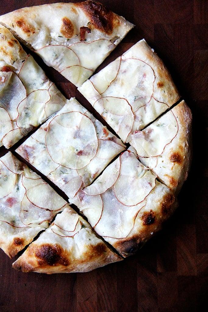 Pizza With Potato, Bacon, and Creme Fraiche