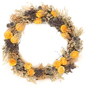 Wheat Strawflower Wreath, $98