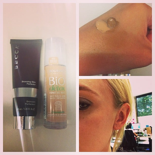 To get her bronzed, dewy skin, Alison uses a mix of Bourjois Bio Detox and Becca Bronzing Skin Perfector. Together, they give off a lovely natural glow.