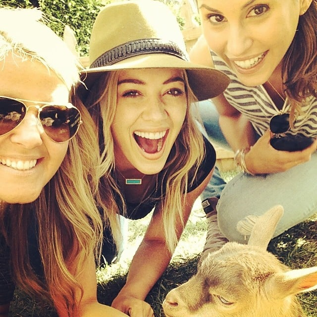Hilary Duff hung out with a goat. Source: Instagram user hilaryduff