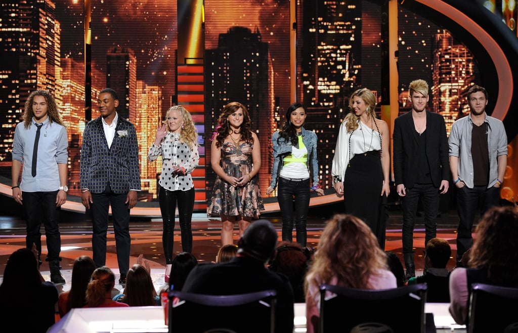 American Idol's top eight took the stage at the end of the show.