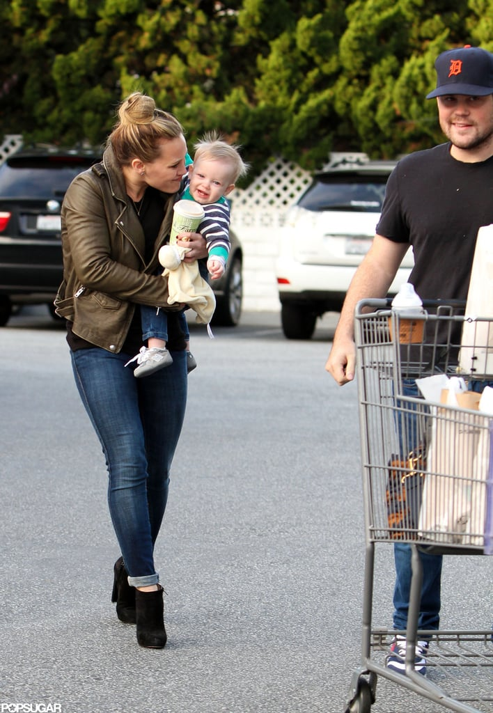 Hilary Duff did some shopping with Mike Comrie and Luca Comrie.