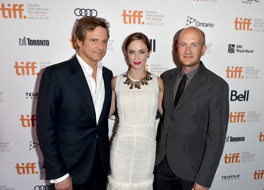 Emily Blunt posed with Colin Firth and director Dante Ariola.