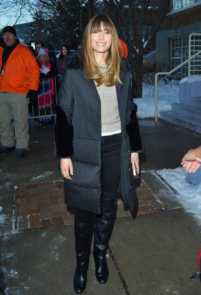Jessica Biel kept warm outside in a black puffer coat, oatmeal sweater, and black skinnies.