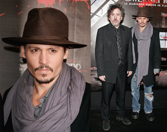 Johnny Depp and Tim Burton at the Sweeney Todd Premiere in Paris