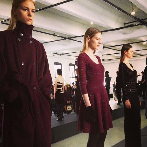 A burgundy lineup at Catherine Malandrino.