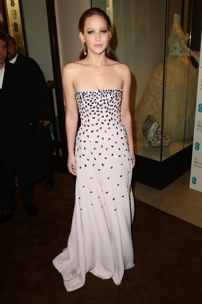 Jennifer Lawrence wore a strapless Dior Haute Couture gown to the BAFTA awards.