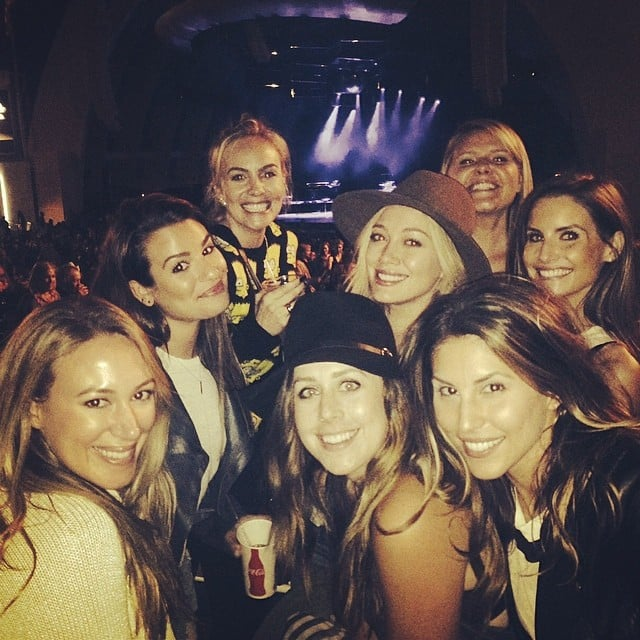 Lea Michele joined Hilary and Haylie Duff to see Pharrell Williams. Source: Instagram user msleamichele