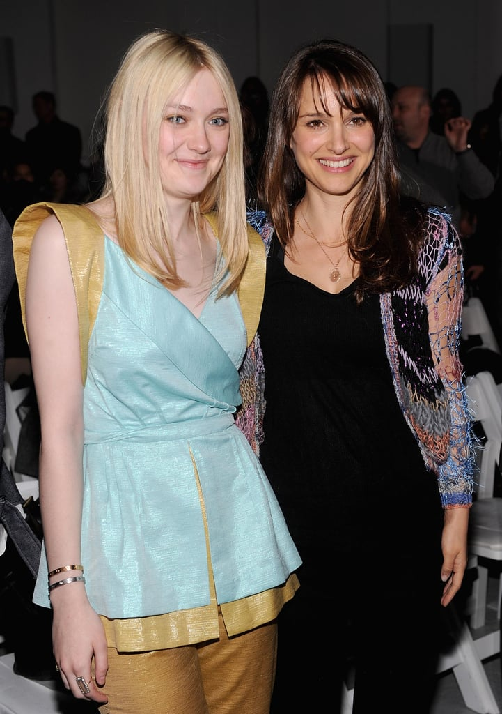 Dakota Fanning and Natalie Portman posed together as fans of Rodarte's collection in February.