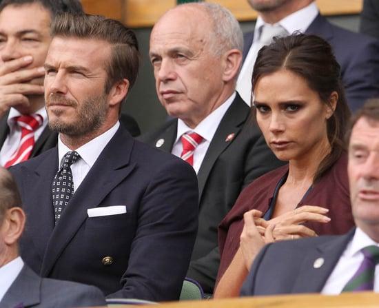 Samuel L Jackson and Victoria and David Beckham at Wimbledon