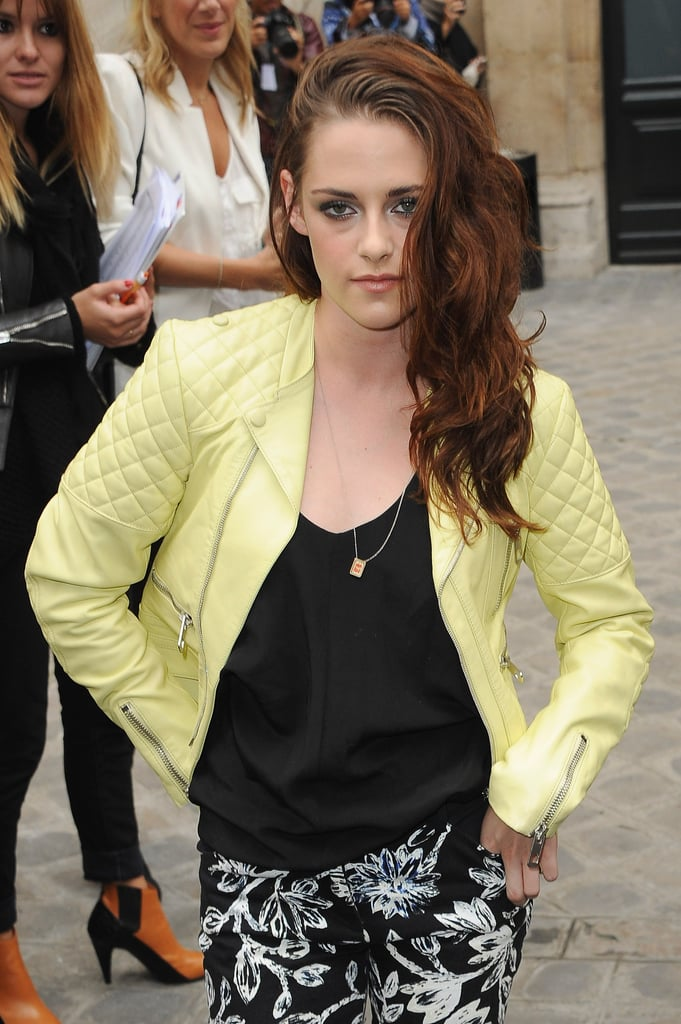 Kristen Stewart arrived at Balenciaga's show in Paris.