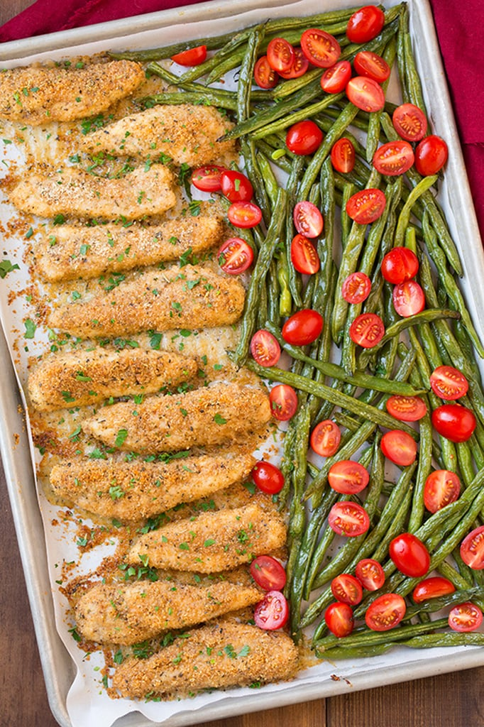 Garlic-Parmesan Chicken Tenders With Roasted Green Beans and Tomatoes