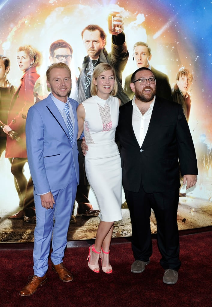 Co-stars Simon Pegg, Rosamund Pike and Nick Frost smiled together at the premiere of The World's End in London on July 10.