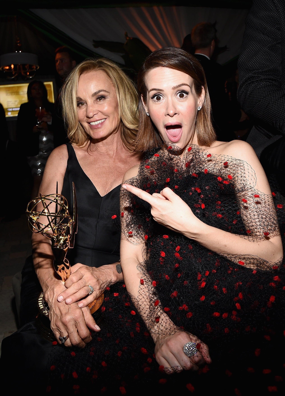 Jessica Lange and Sarah Paulson had a blast at the Fox party.