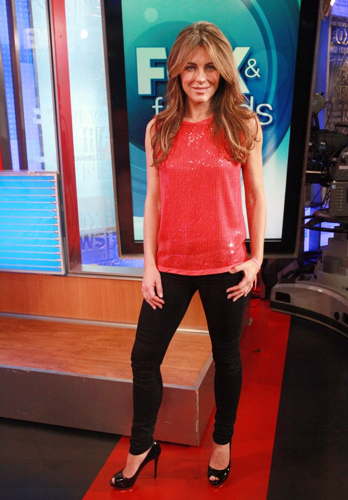 Elizabeth Hurley visits the set of FOX & Friends in New York on Sept. 28.