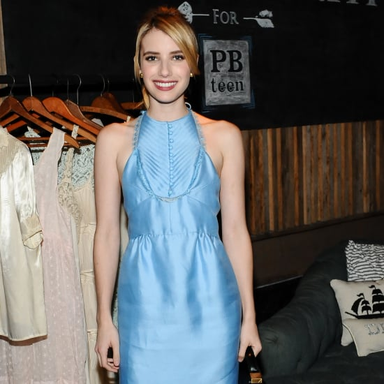 Emma Roberts Wearing Blue Dress With Red Pumps