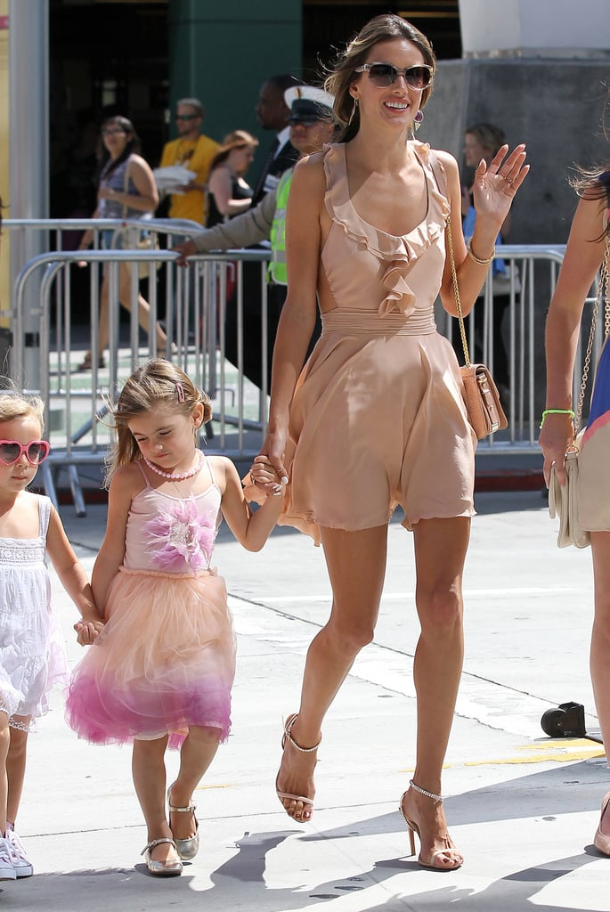 Alessandra Ambrosio showed up at the Los Angeles Film Festival with her daughter, Anja, in tow.