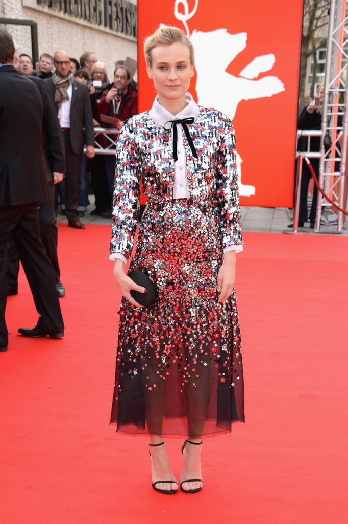 God bless America Diane. The style ace sparkled in an all-Americana Chanel set at the 2014 Berlin Film Festival.