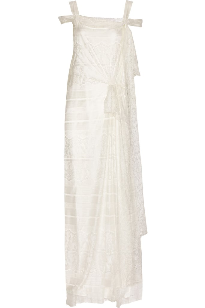 The neckline and delicate lace layers are all romance, but the hem is just the right length to avoid dragging in the sand.  Alberta Ferretti Silk and Lace Gown ($1,970, originally $3,940)