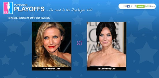 Photos of Cameron Diaz and Courteney Cox in the PopSugar 100 Matchup