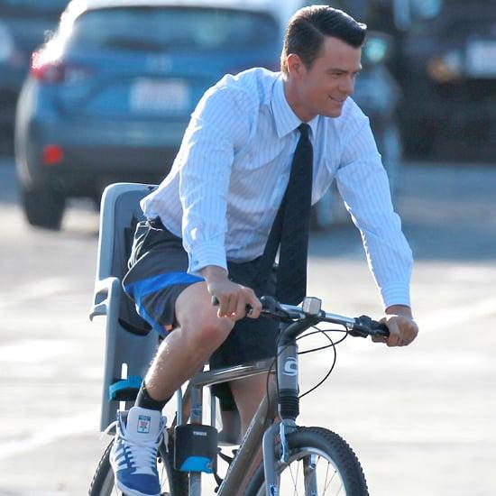 Josh Duhamel Riding His Bike on Set | Pictures