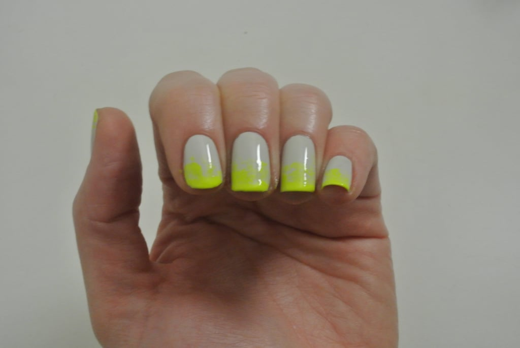 I didn't let them dry completely, I'd say dry to touch, and then I applied a really generous top coat and it smoothed out the polish and gave this lovely blended look.