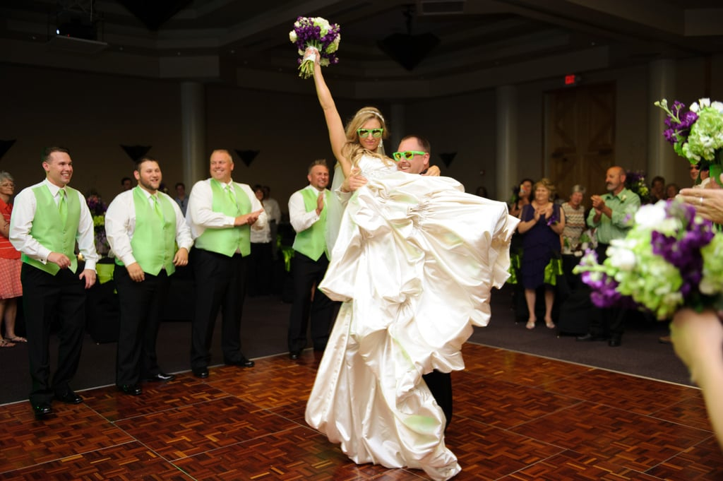 Derrick carried his beautiful bride on to the dance floor.