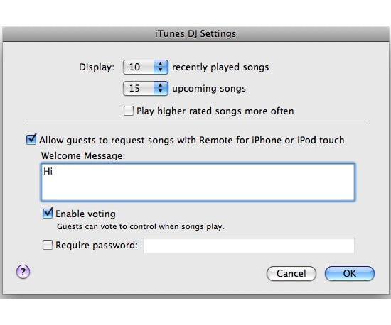 iTunes DJ Lets Guests Pick Your Playlist Songs