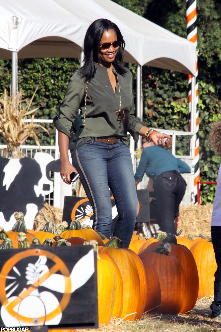 Garcelle Beauvais picked pumpkins at a patch in LA.