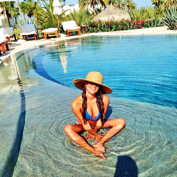 Lea Michele shared this cute bikini photo from her recent vacation in Mexico — love her oversize sun hat! Source: Instagram user msleamichele