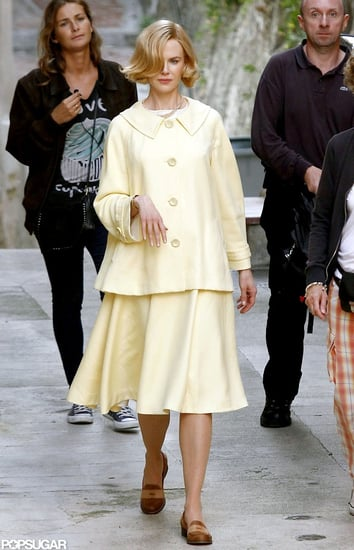 Nicole Kidman wore a yellow jacket and skirt to play Grace Kelly for her new film, Grace of Monaco.