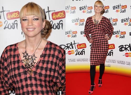Sara Cox on the 2009 Brit Awards Red Carpet