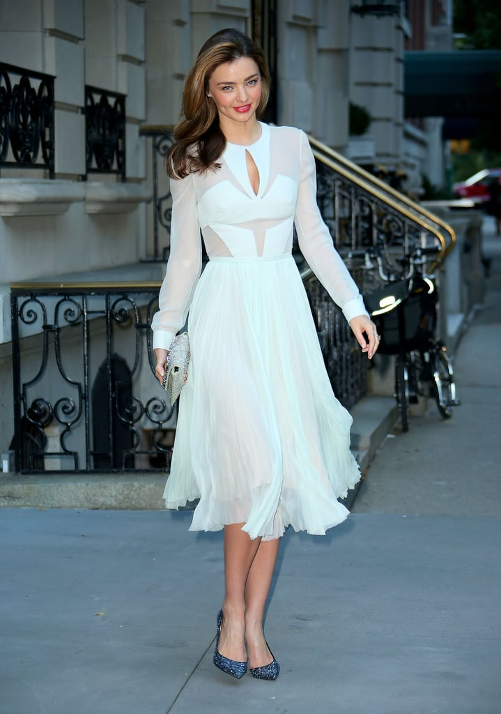 A chiffon dress has never looked so sexy! Miranda Kerr partnered sheer with cut-outs, opting for a J. Mendel dress at the Romeo and Juliet premiere in New York.