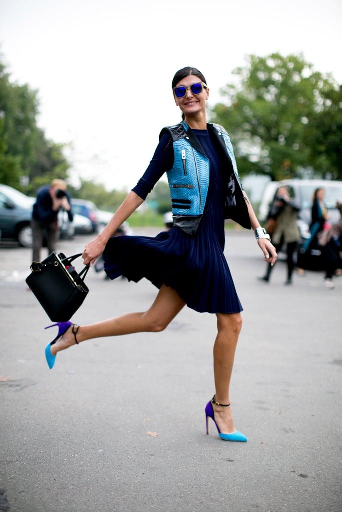 Giovanna Battaglia's look kind of makes us want to jump for joy too.