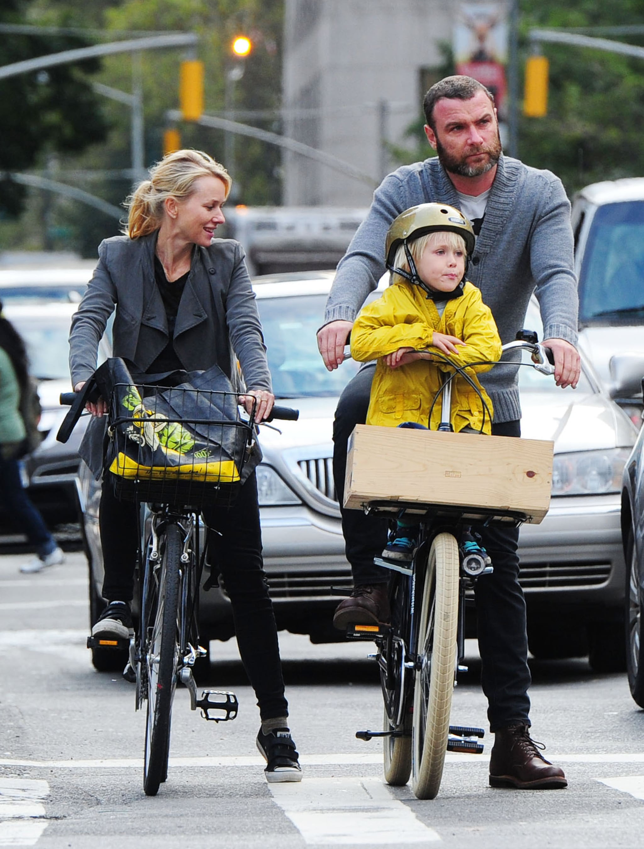 Naomi Watts and Liev Schreiber took their sons on a bike ride in NYC.
