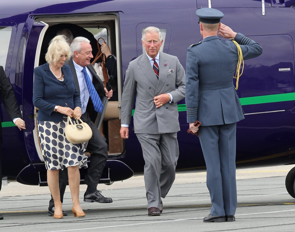 Prince Charles and Camilla Parker Bowles arrived at the base.